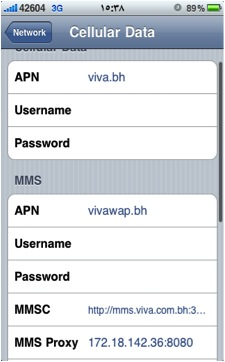 VIVA internet APN settings